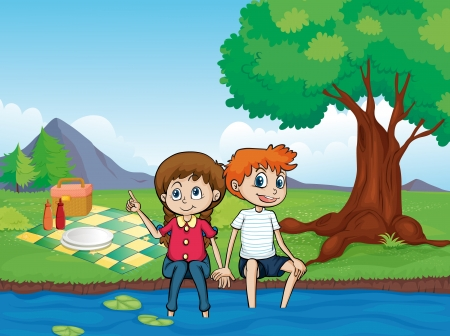 picnic basket: Illustration of a smiling boy, a girl and a river