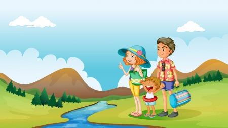 Illustration of a boy, a girl and a kid in a nature Vector