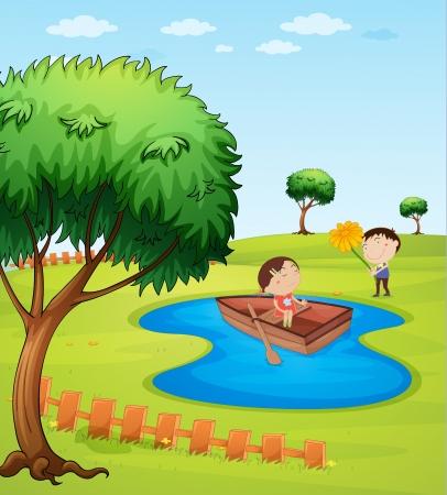 Illustration des enfants et un bateau en bois dans un étang