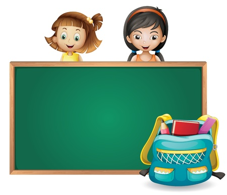 Illustration of smiling kids and a green board on a white background Vector