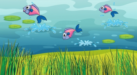 river bank: Illustration of a fish in a river and a beautiful landscape