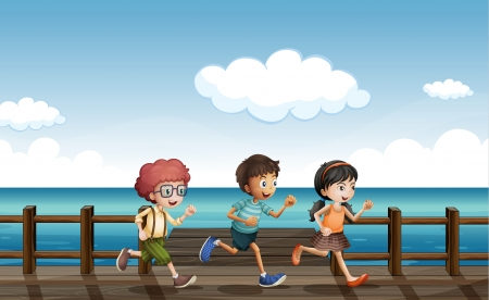 Illustration of kids running on a wooden bench Illustration