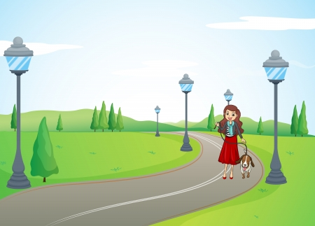 dog walk: Illustration of a smiling girl with dog on the road Illustration