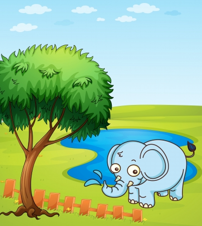 Illustration of an elephant playing in a water Stock Vector - 17477467