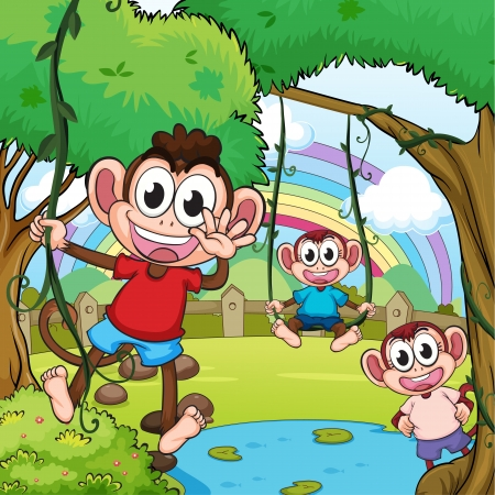 bush babies: Illustration of playing monkeys and a beautiful rainbow Illustration