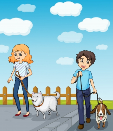 dog walk: Illustration of a smiling girl and a boy having dog Illustration