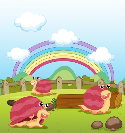 Illustration of smiling snails and a rainbow Stock Vector - 17477437