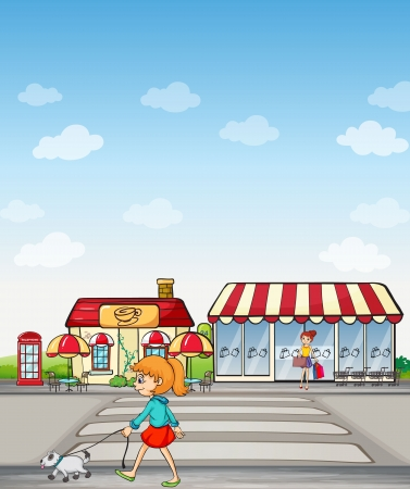 Illustration of girl walking on a road and a coffee house