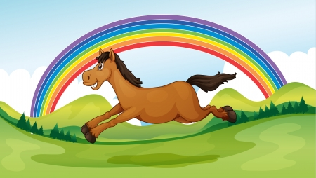 Illustration of a smiling and jumping horse and a rainbow Stock Vector - 17477449