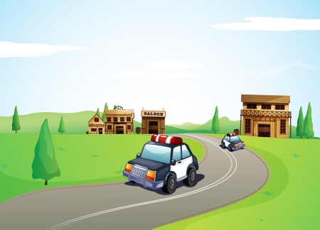 highway patrol: Illustration of two cars on the road and a saloon shop