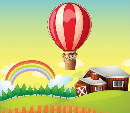 Illustration of kids in an air balloon and a house on a beautiful landscape