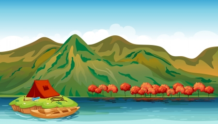 Illustration of a river and a camping tent Vector