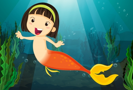 under water grass: Illustration of a smiling girl mermaid in a water