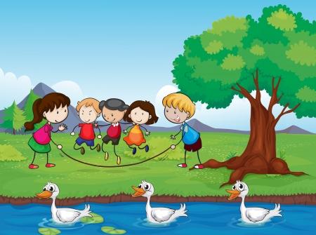 cartoon clouds: Ilustraci�n de ni�os jugando y patos en el agua Vectores