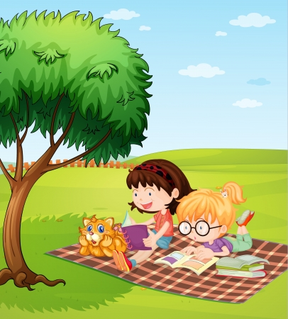Illustration of girls reading books and a lying cat Vector
