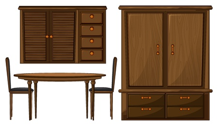dinning table: Illustration of a dinning table and a wardrobe on a white background