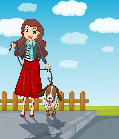 dog walk: Illustration of a smiling girl having a dog Illustration