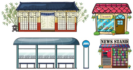Illustration of various shops and a bus station on a white background Vector