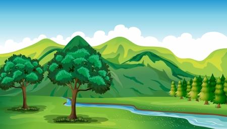 Ilustración de un río y un hermoso paisaje Ilustración de vector