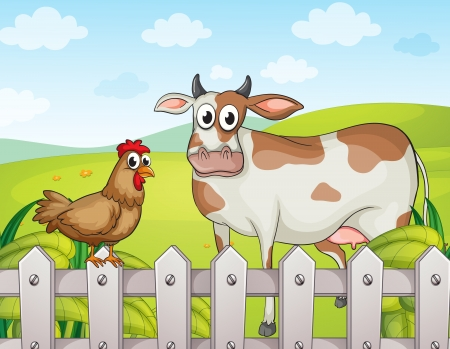 Illustration of a cow, a hen and a beautiful landscape Vector