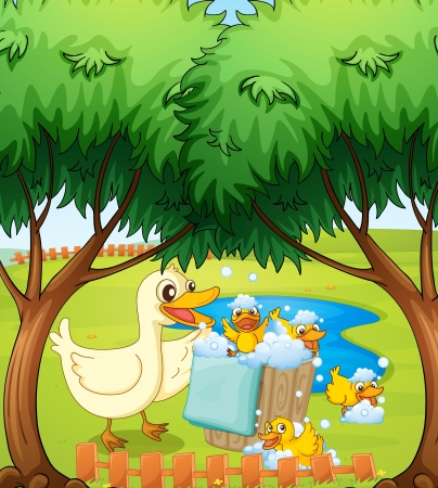 Illustration of a smiling duck and duckling playing with foam Stock Vector - 17477471