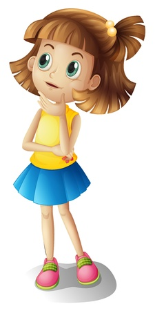 cute girl cartoon: Illustration of a thinking girl on a white background