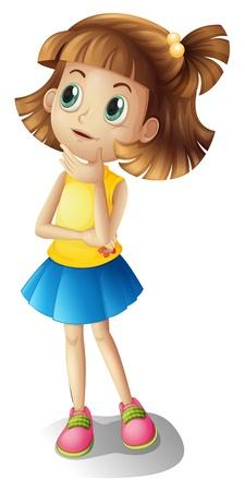 Ilustración de una chica que piensa sobre un fondo blanco Ilustración de vector
