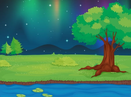 river bank: Illustration of a river and a beautiful landscape in a night Illustration