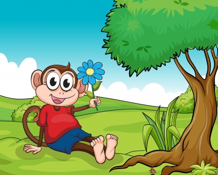 Illustration of a smiling monkey sitting under a tree Vector