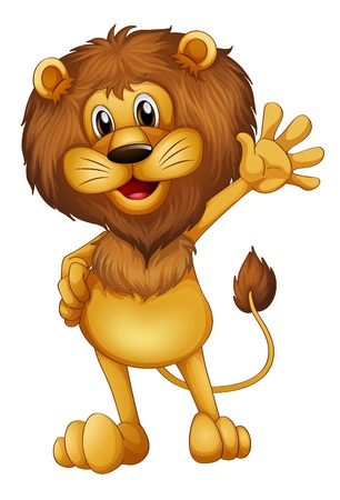 lion drawing: Illustration of a lion waving his hands Illustration