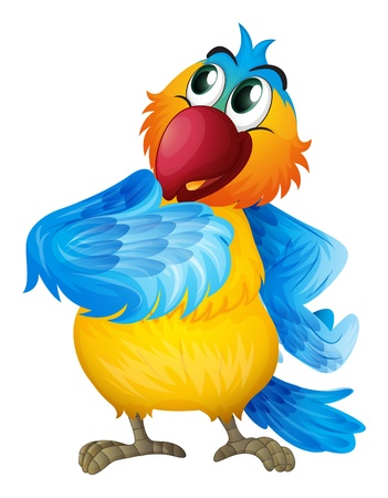 Illustration of a parrot wondering on a white background Stock Vector - 17521445