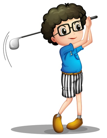 Illustration of a young boy playing golf on a white background Vector