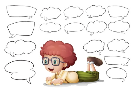 comic graphic: Illustration of a boy and the different shapes of callouts on a white background