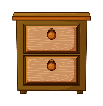 Illustration of a wooden drawer on a white background