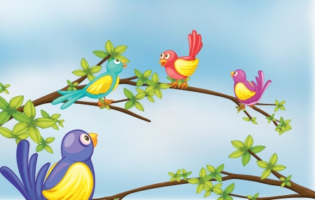 finch: Illustration of colorful birds talking