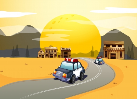 desert road: Illustration of vehicles in the road