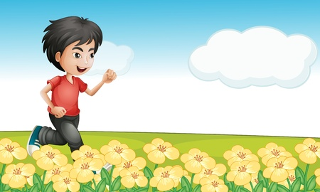 Illustration of a young boy running in a garden Vector