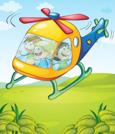Illustration of a colorful helicopter with happy kids Stock Vector - 17521619