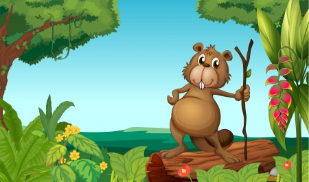 Illustration of a beaver in the woods Vector