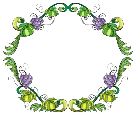 beautify: Illustration of a grape vine border on a white background