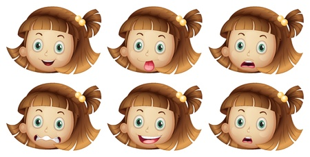 disgust: Illustration of the different facial expressions of a girl on a white background