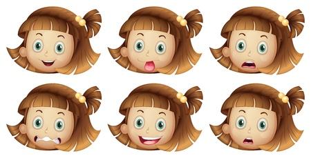 expresiones faciales: Ilustraci�n de las diferentes expresiones faciales de una chica sobre un fondo blanco