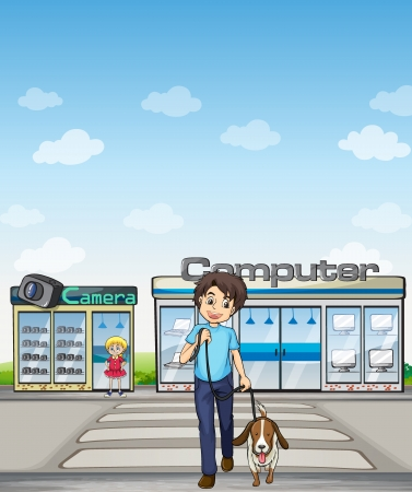 Illustration of a man crossing the street with his dog