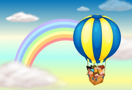 Illustration of a hot air balloon near the rainbow
