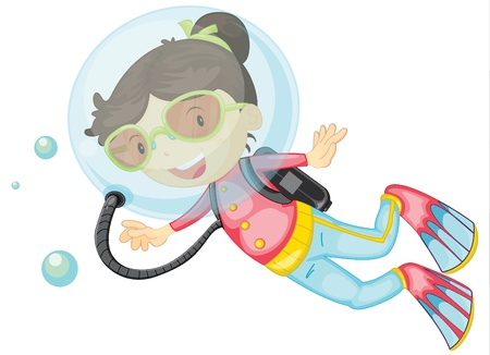 scuba goggles: Illustration of a girl scuba diving on a white background