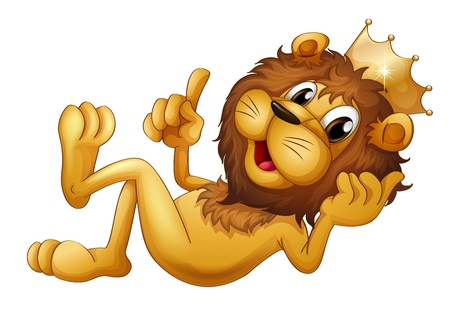 golden hair: Illustration of a king lion with a crown on a white background