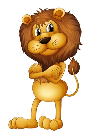 animated adult: Illustration of an angry lion on a white background Illustration
