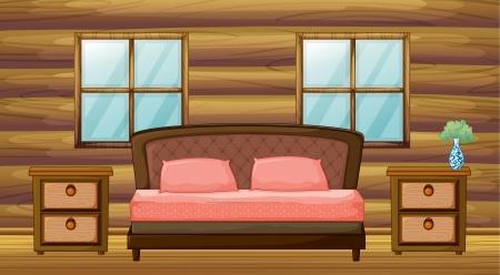 log wall: Illustration of an organized bedroom