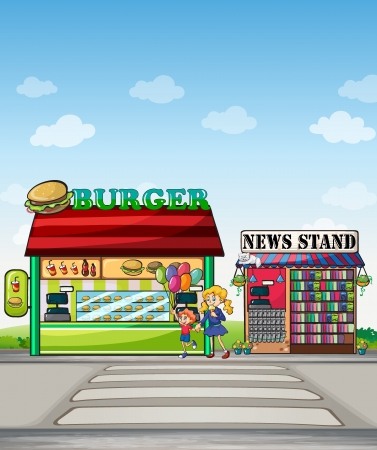 Illustration of a boy with balloons and a girl eating an ice cream near the burger junction and newstand Vector