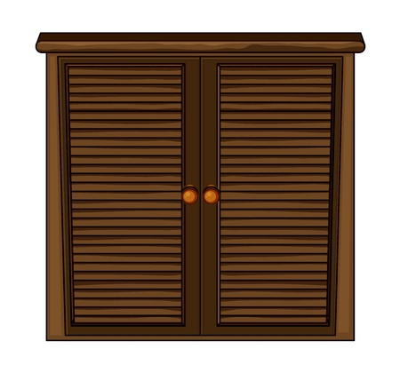 Illustration of a wooden cabinet on a white background Vector